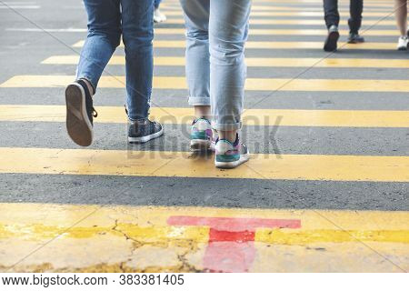 Pedestrian Crossing The Zebra Road. Traffic Laws