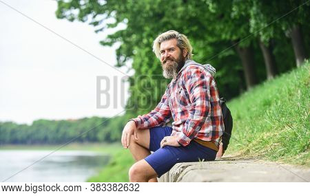 Nice Day. Rest And Relax. Relaxation And Pleasure. Bearded Hipster Relax Outdoors. Man Tourist Sit R