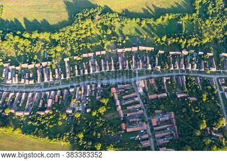 Saxon Village Viscri in Transylvania, Romania. Aerial view from a drone.