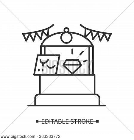 Local Jewelry Icon. Bijouterie And Gem Stones Street Fair Stall Display Linear Pictogram. Concept Of
