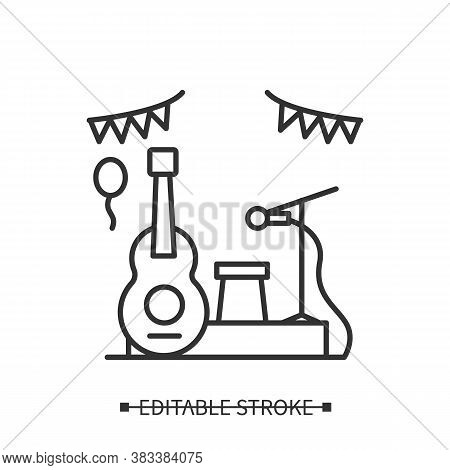 Music Event Icon. Acoustic Guitar With Microphone Stand And Flag Decorations Line Pictogram. Live Co