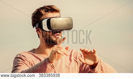Interaction With Digital Surface. Gesture Control. 3d Visualization. Vr Communication. Man Explore V
