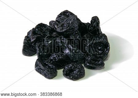 Dried Plum - Prunes Fruits Isolated On A White Background. Front Views, Close-up.