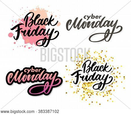 Set Black Friday Letter. Cyber Monday Sale Banner Vector. Cyber Monday Banner Design. Technology Bac