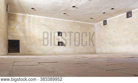 Dachau, Germany - July 13, 2020: The Inside Of A Gas Chamber At Dachau Concentration Camp. Dachau Co