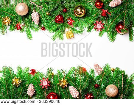 Christmas Decorative Garland On A White Background. Copy Space. Christmas Concept