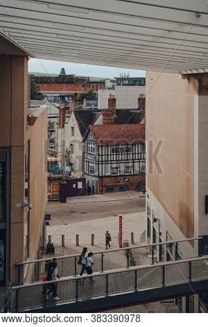 Oxford, Uk - August 04, 2020: View Of The Castle Pub From The Westgate Centre, A Major Shopping Cent