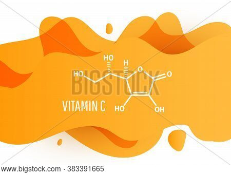 Vitamin C Skeletal Chemical Formula On Orange Liquid Fluid Shape Background. Vector Illustration