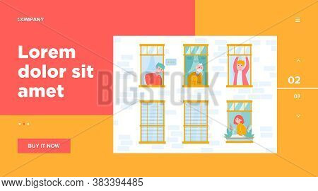People Living In One Building. Apartment, Window, Neighbor Flat Vector Illustration. Lifestyle And N