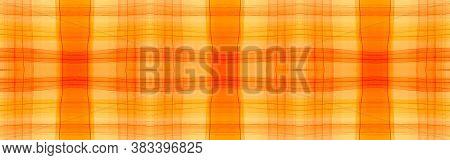 Orange Tartan Background. Watercolour Check Texture. Man Geometric Stripes For Tile Design. Seamless