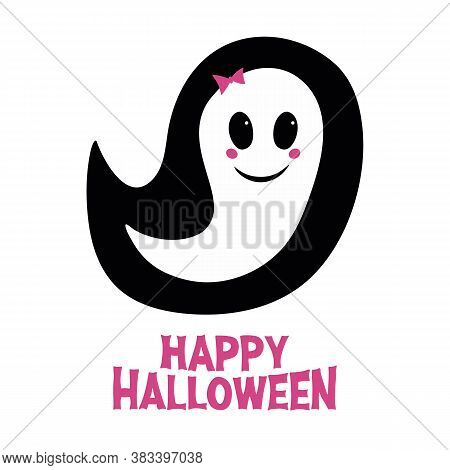 Cute Girl Ghost With Pink Blush, Bow And Happy Halloween Lettering. Holiday Greeting Card. Isolated