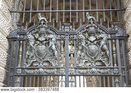 London, Great Britain -may 22, 2016: Wrought Iron Of Treasury Gates With British Royal Coat Of Arms,