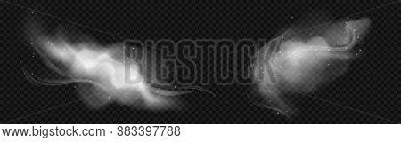 Cold Wind Effects With White Smoke And Flying Snowflakes. Vector Realistic Set Of Frost Blowing Air,