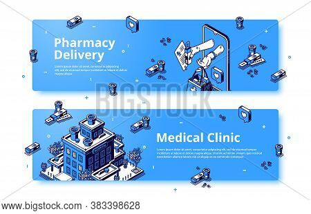 Medical Clinic, Pharmacy Delivery Isometric Banner. Human Hands Give Bag With Drugs From Smartphone