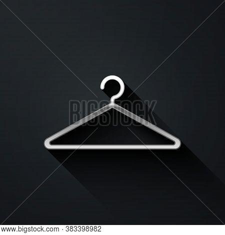 Silver Hanger Wardrobe Icon Isolated On Black Background. Cloakroom Icon. Clothes Service Symbol. La