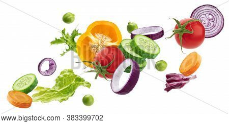 Falling Vegetables, Fresh Salad Ingredients Isolated On White Background