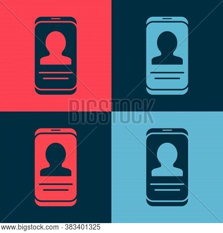 Pop Art Mobile With Resume Icon Isolated On Color Background. Cv Application. Searching Professional