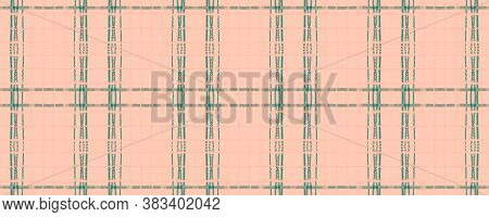 Pink Rustic Plaid. Watercolour Picnic Fabric. Vintage Checkered Tile. Seamless Rustic Plaid. British