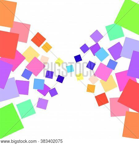 Background Of Many Colored Squares Of Different Sizes Converging To The Center On A White Background