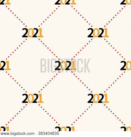 Happy New Year 2021 Seamless Pattern With Polka Dot. Vector Illustration Background In Minimalistic