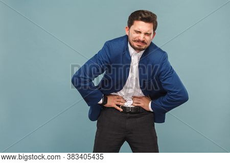 Unhappy Man With Stomach Spasm