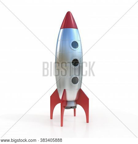 Cartoon Rocket Space Ship 3d Rendering, Three Dimensional Object
