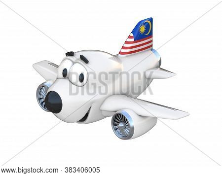 Cartoon Airplane With A Smiling Face - Malaysian Flag