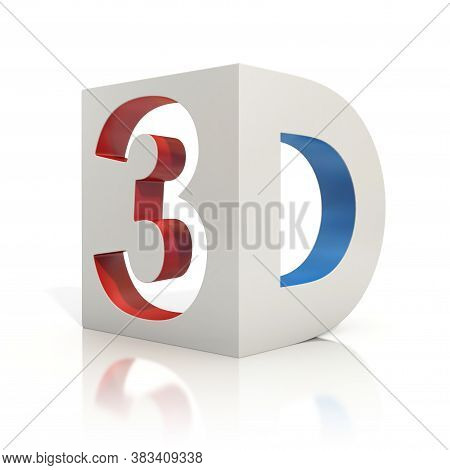 3d Movie Icon On White Background, Three Dimensional Object