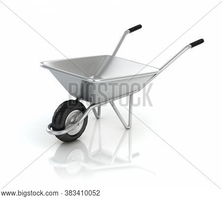 3d Wheel Barrow Isolated On The White Background