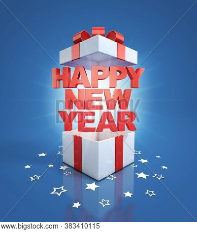 Happy New Year Gift Box, Three Dimensional Object