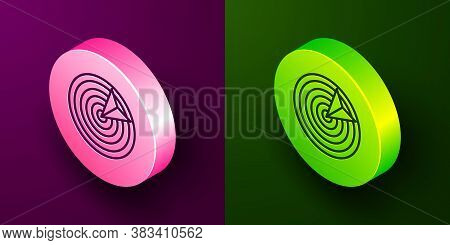 Isometric Line Target Sport Icon Isolated On Purple And Green Background. Clean Target With Numbers