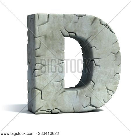 Cracked Stone 3d Font Letter D, Three Dimensional Object