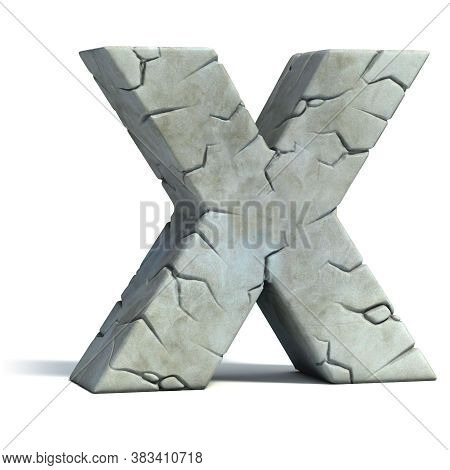 Cracked Stone 3d Font Letter X, Three Dimensional Object