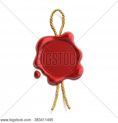 Blank Wax Seal With Cord, Three Dimensional Object