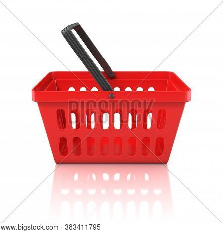 Red Shopping Basket On White Background 3d Rendering
