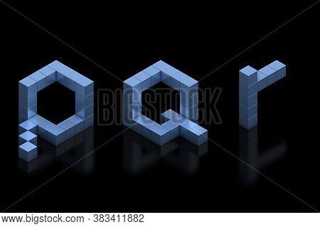 Cubical 3d Font Letters P Q R, Three Dimensional Object
