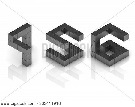 Cubical 3d Font Numbers 4 5 6, Three Dimensional Object
