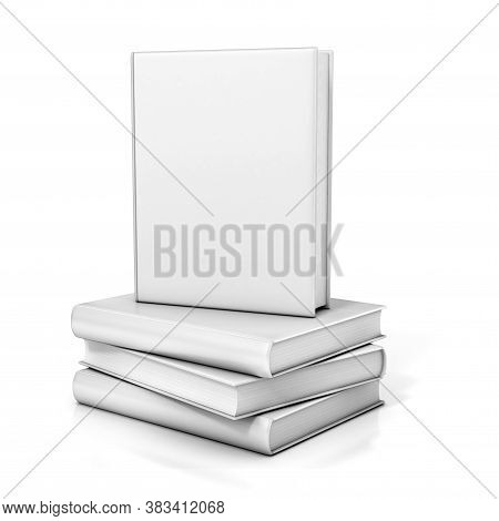 Books With Blank Covers 3d Rendering, Three Dimensional Object