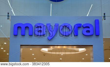 Warsaw, Poland. 1 September 2020. Sign Mayoral. Company Signboard Mayoral.