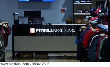 Warsaw, Poland. 1 September 2020. Sign Pitbull West Coast. Company Signboard Pitbull West Coast.