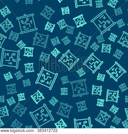 Green Line Planning Strategy Concept Icon Isolated Seamless Pattern On Blue Background. Cup Formatio