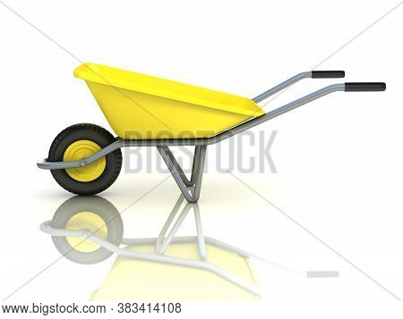 Wheel Barrow Isolated On White Background, Three Dimensional Object