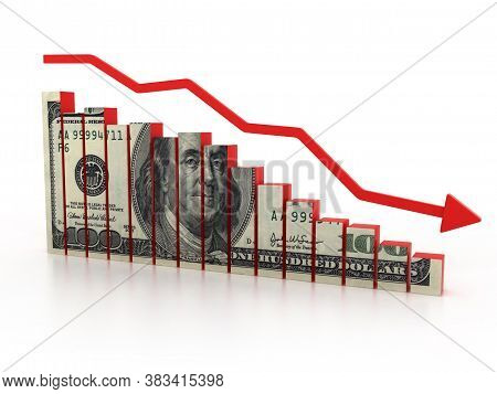 Financial Crisis, Dollar Diagram 3d Rendering, Three Dimensional Object