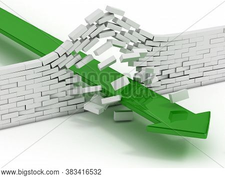 Arrow Breaking Brick Wall Abstract 3d Illustration - Power Solution 3d Concept - Infiltration - Succ