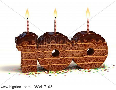 Chocolate Birthday Cake With Lit Candle And Confetti 3d Font Number 100