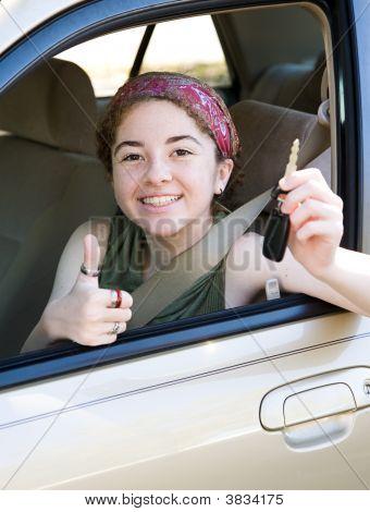 Teen With Keys Thumbsup