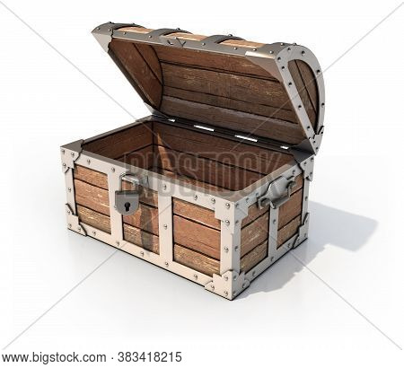 Empty Treasure Chest 3d Illustration, Three Dimensional Object