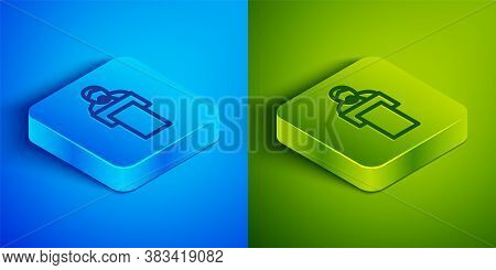 Isometric Line Gives Lecture Icon Isolated On Blue And Green Background. Stand Near Podium. Speak In