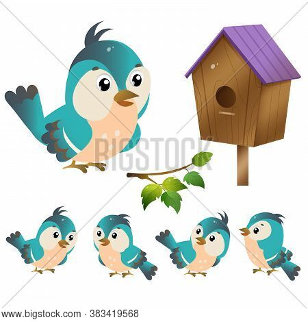 Color Images Of Cartoon Bird With Birdhouse On White Background. Vector Illustration Set For Kids.