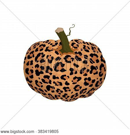 Vector Illustration Of Pumpkin With Leopard Print Isolated On White Background. Cartoon Flat Abstrac